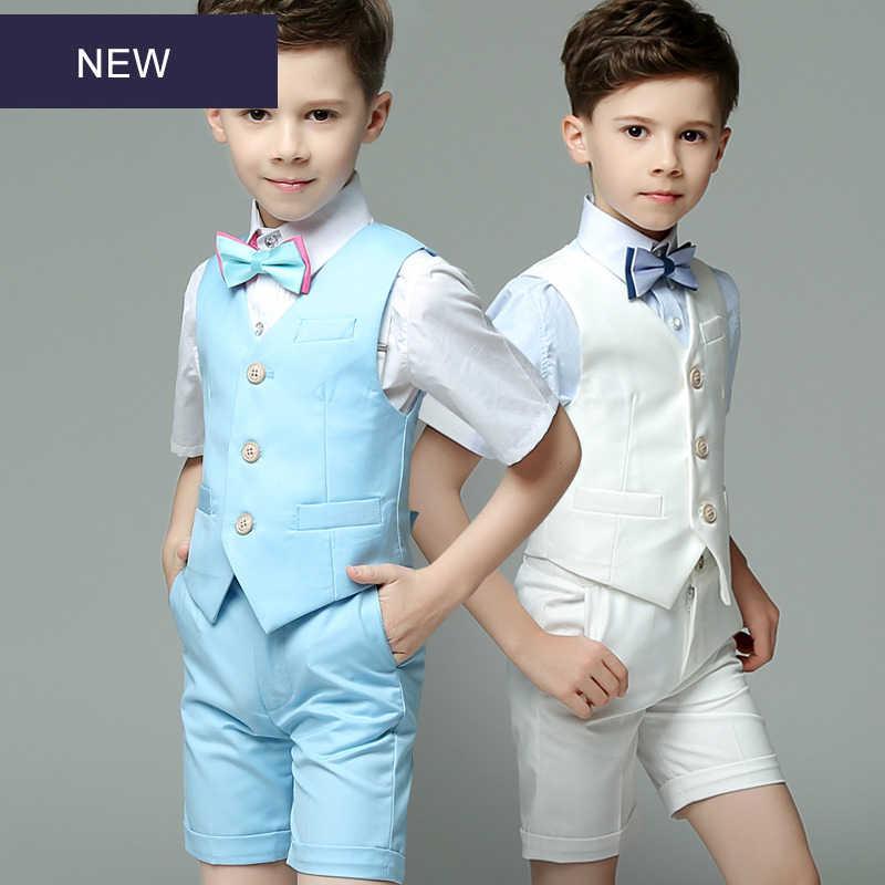Shirt Summer Boy Clothes Set Vest Bow Tie 4 Pieces Outfits Suit Set Gentleman Infant Formal Dress Short Set Pants
