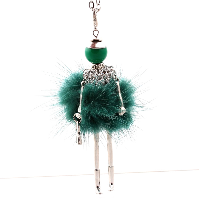 Kobiety naszyjnik z kryształem górskim Piękna sukienka z lalką - Modna biżuteria - Zdjęcie 5