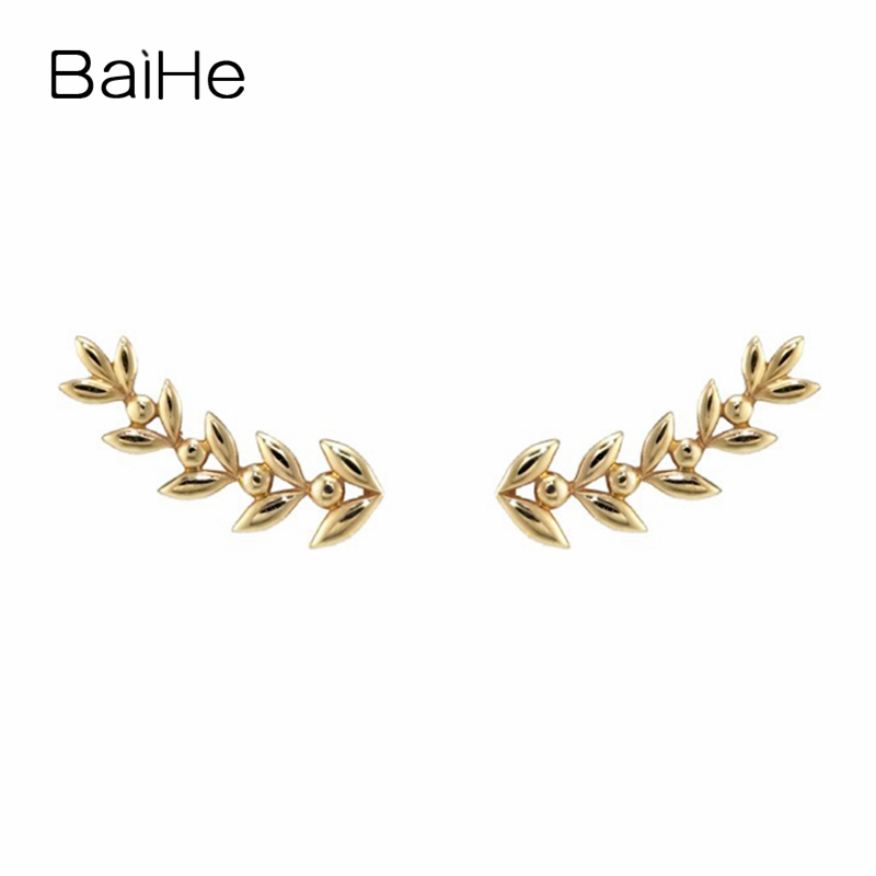 BAIHE Solid 14K Yellow Gold Engagement Anniversary Wedding Trendy Fashion Fine Jewelry Elegant Unique Gift perfect Stud Earrings