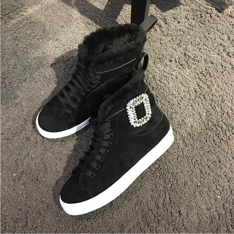 En Nouveau Chaussures Coins Bout Leather Bottes Suède Enfant Kid Cheville D'hiver Style Dentelle Cristal Black Rond Femmes black Patent Up Laine Femme Noir Strass Suede IqwPTIr