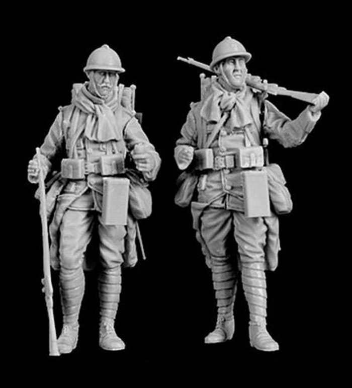 1/35 French MAN  Equipped Standing  (2 Figures)  Resin Figure Model Kits Miniature Gk Unassembly Unpainted