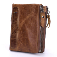 Genuine Leather Men Wallets Short Coin Purse Vintage Double Zipper Cowhide Leather Wallet Luxury Brand Card