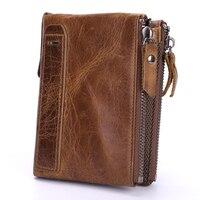 Genuine Leather Men Wallets Short Coin Purse Vintage Double Zipper Cowhide Leather Wallet Luxury Brand Card