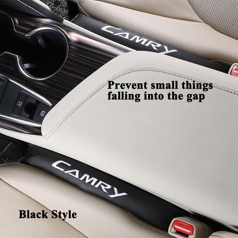 2 Stks/partij Styling Auto Seat Gap Cover Filler Lederen Lek Stopper Pad Kussen Met Logo Auto Accessoires Voor Toyota Camry Puur Wit En Doorschijnend