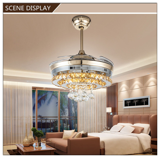 Modern crystal pendant round shaped led ceiling fan lights with modern crystal pendant round shaped led ceiling fan lights with fanaway retractable blades aloadofball Image collections