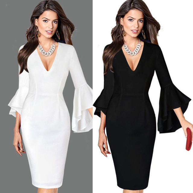 2017KLV Women Sexy Deep V-neck Elegant Work Business Casual Party Flare  Bell Long Sleeve Office Party Bodycon Dress 20 c6cdb4b9e70a