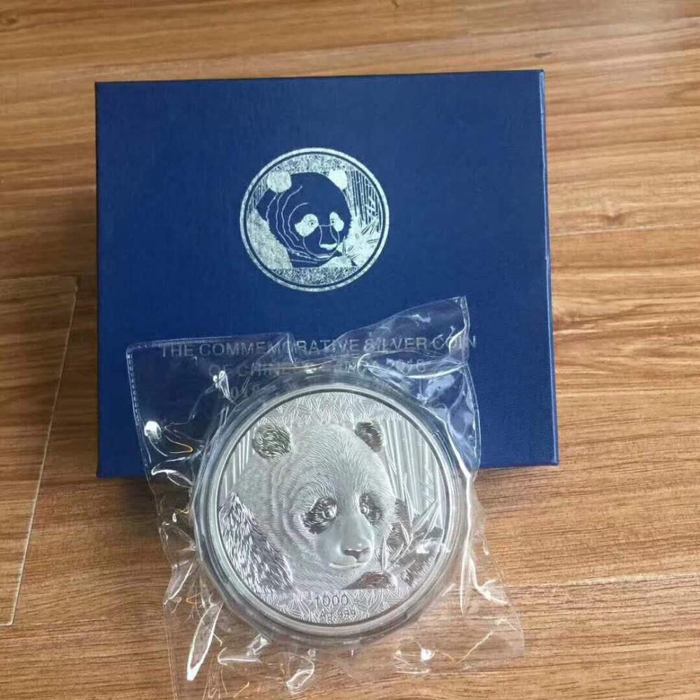 2018 Year 1000g 1kg Weight China panda plated Silver coins with COA certificate forAnimal Coin gift present copy in Non currency Coins from Home Garden