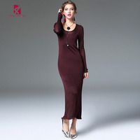 FIVE PANDA Winter Elegant Patchwork Dress Women Brand Quality Close Fitting Elastic Dress Top Grade Woolen