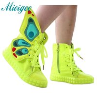 2016 Spring Autumn Kids Shoes New Brand Fashion Children Sneakers High Top Wings Canvas Girls Shoes