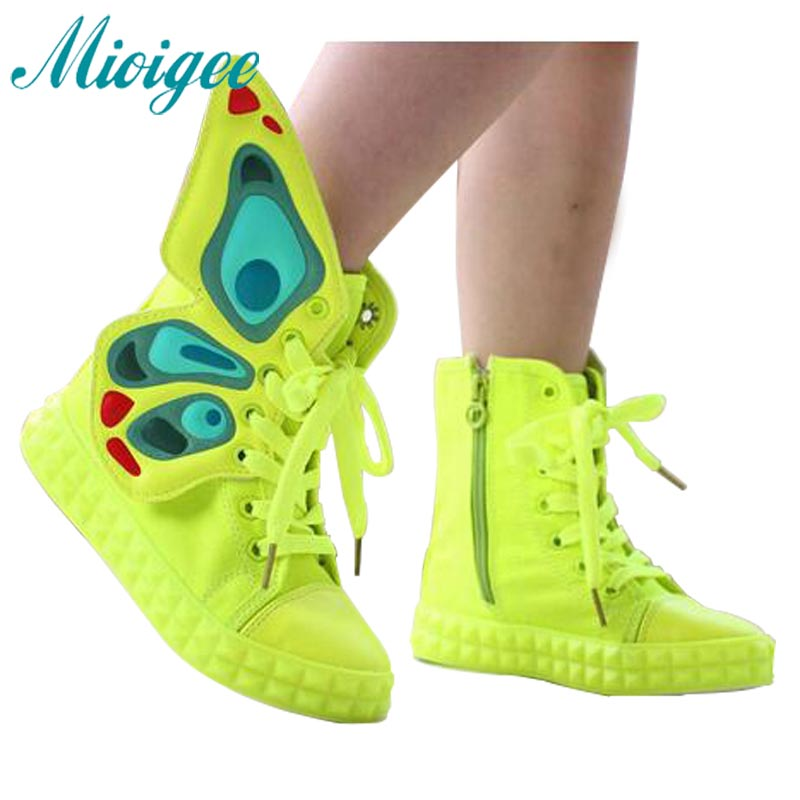 2017 г., весна-осень детская обувь новый модный бренд дети кроссовки высокие крылья холст девочек обувь для детей обувь для мальчиков