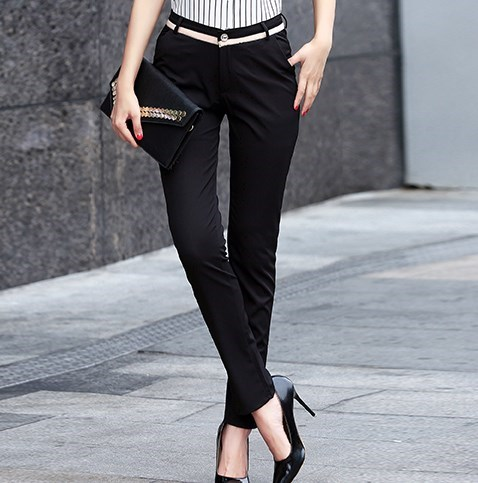 ca4094e86823 2018 Ladies High Waisted Skinny Dress Suit Pants Women Grey Black Formal  Pants For Woman Korean Office Work Trouser Pantalon
