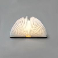 Wooden Folding Innovative USB Rechargeable LED Foldable Wooden Book Shape Desk Lamp Nightlight Booklight