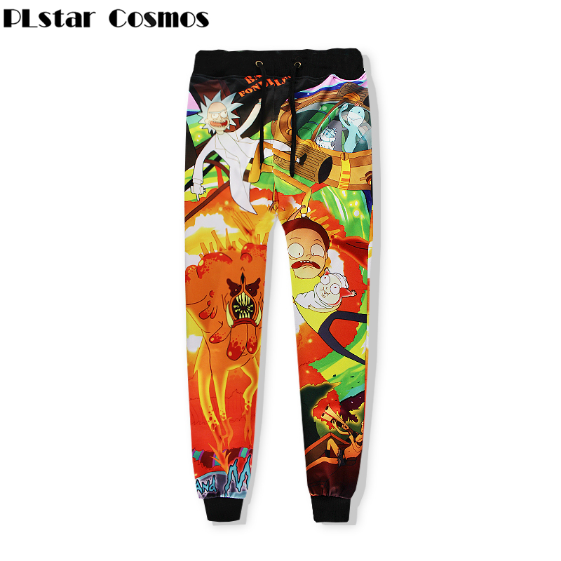 PLstar Cosmos 2018 Autumn New Fashion Sweat Pants Cartoon Rick And Morty 3d Print Crewneck Joggers Pants Unisex Hip Hop Trousers