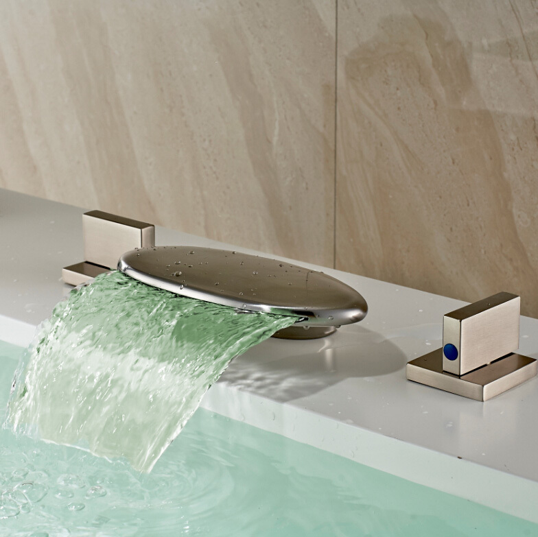 Bathroom LED 3 Colors Waterfall 3pcs Basin Mixer Faucet Deck Mounted LED Widespread Brushed Nickel Basin