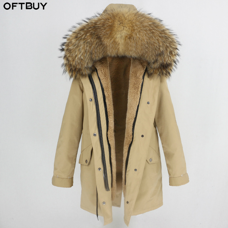 Waterproof Women Long Parka Natural Raccoon Fox Fur Collar Hood Real Fur Coat Winter Jacket Women Brand Luxury Korea Fashion New(China)