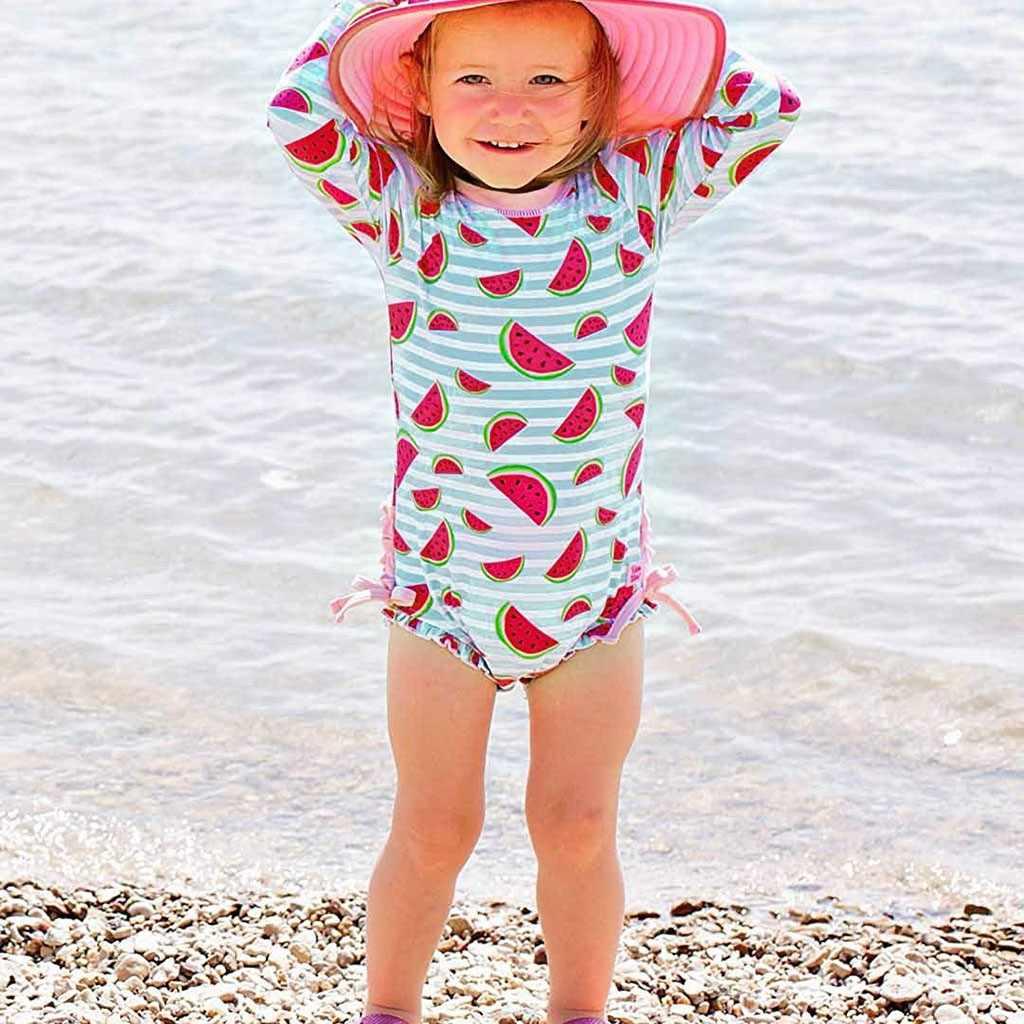 Costumi Da Bagno Bimba Lengan Panjang Pantai Bikini Bunga Cetak One Piece Swimsuit Anak Baju Renang untuk Anak-anak Bayi Badpak MAR9