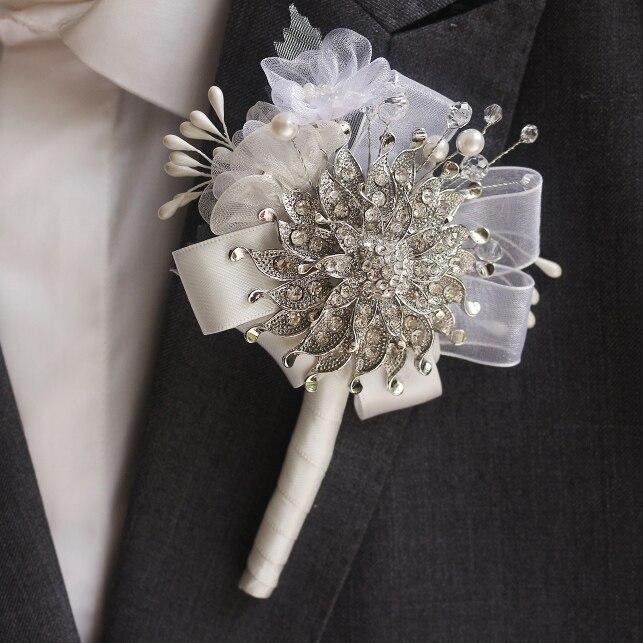 Handmade groom corsages, bestman lapel flowers,silver brooch & chiffon crystal pearl wedding tuxedo accessories groom boutineer
