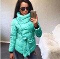 Plus Size 3XL Women Basic Coats 2016 Autumn Winter Warm Cotton Coat Solid Color Turtleneck Irregular Padded Coat with Belt