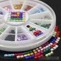 12 Colors 3D Square 3mm Nail Decor Flatback Shiny Rhinestone DIY Nail Tips Wheel 7LPC