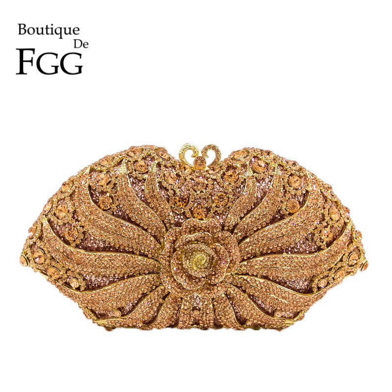 Boutique De FGG Flower Rose Champagne Crystal Clutches Bag Evening Purse Women Wedding Party Cocktail Handbag