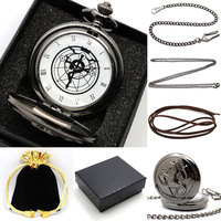 New Gift Boxed Fullmetal Alchemist Edward Elric S Pocket Watch With Chain Cosplay Anime Boy Leather