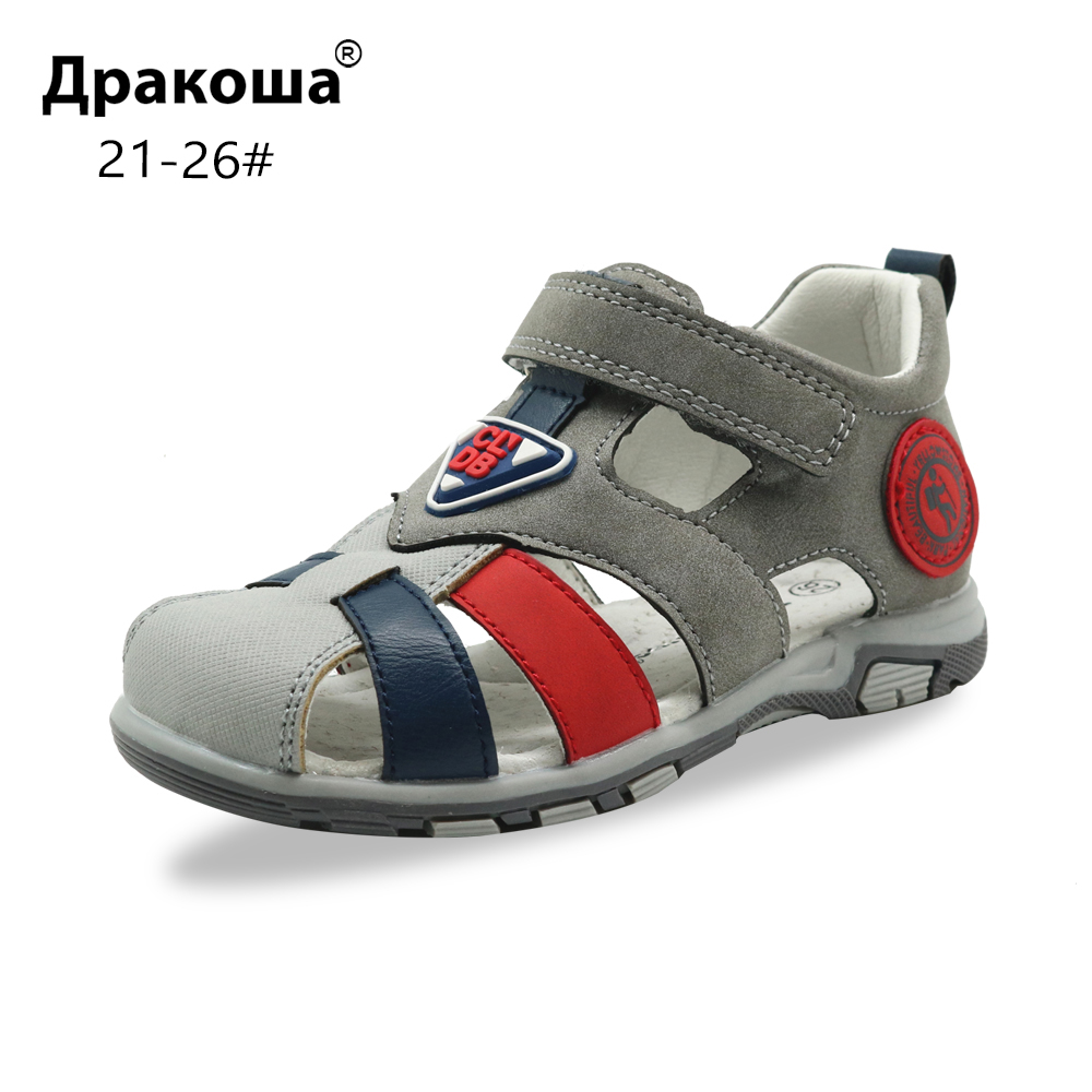 Apakowa Toddler Boys Summer Closed Toe Flat Sandals Little Kids Boy Breathable Gladiator Hook And Loop Sandals With Arch Support
