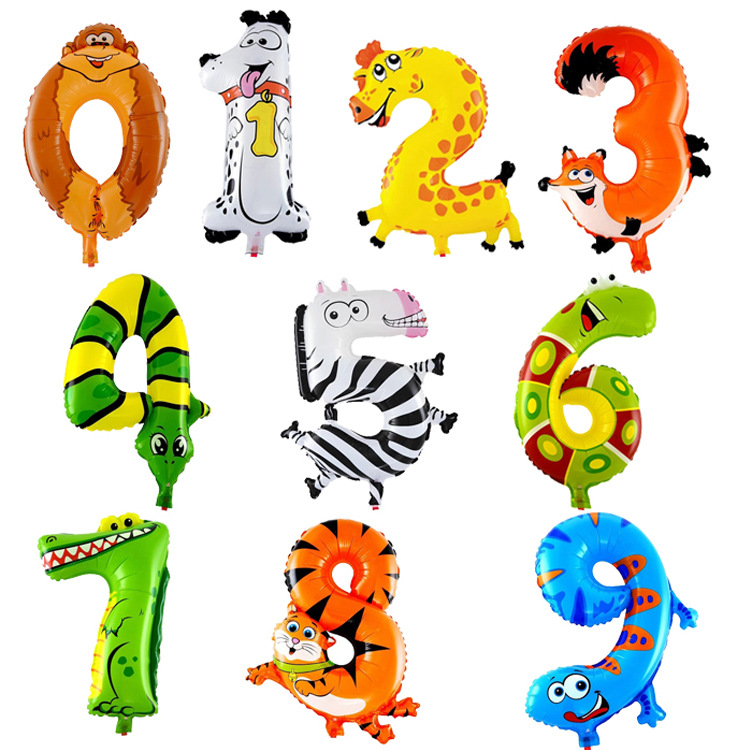 10PCS 16 Inches 0-9 Animal Cartoon Numbers Foil Balloons Party Digit Air Balloons Birthday Party For Kids Outdoor Ball Toys