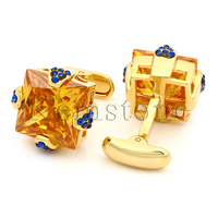 Kemstone Luxury Gold Tone Orange Cubic Zirconia Crystal Mens Cufflinks