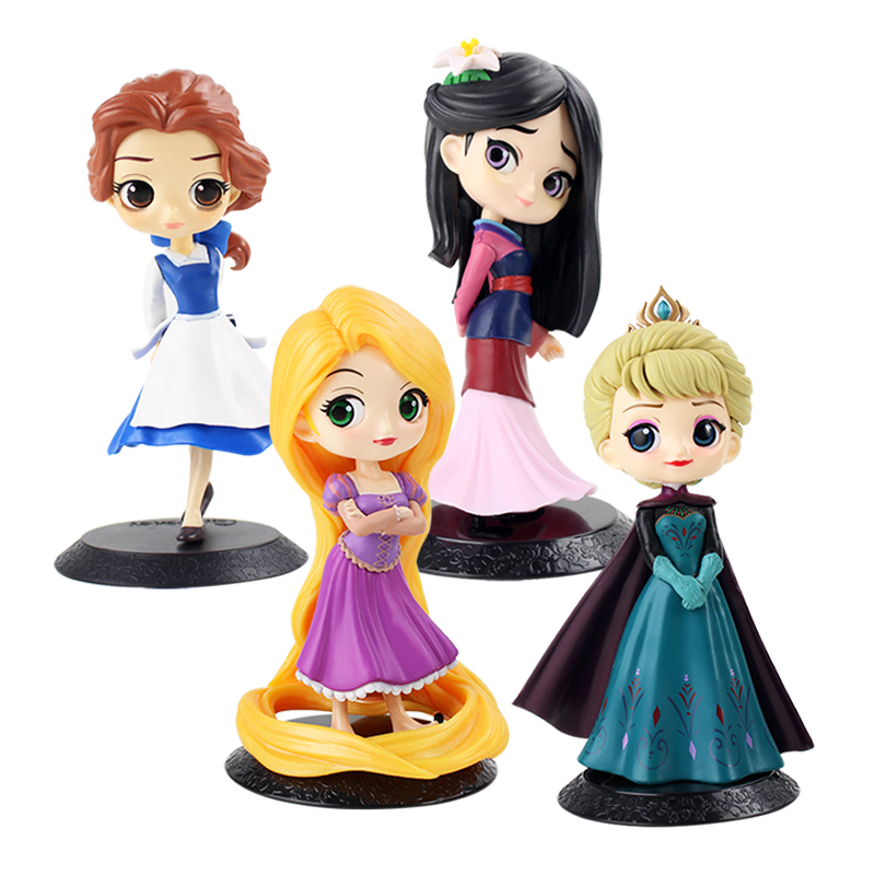 12cm Q Posket Princess Figure Mulan Snow White Rapunzel Figure Cake Decorations Action PVC Model Toy Girl Birthday Gifts