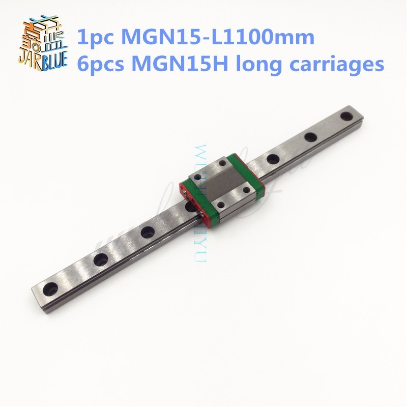15mm Linear Guide MGN15 L= 1100mm linear rail way + MGN15H Long linear carriage for CNC X Y Z Axis 15mm linear guide mgn15 l 650mm linear rail way mgn15c or mgn15h long linear carriage for cnc x y z axis