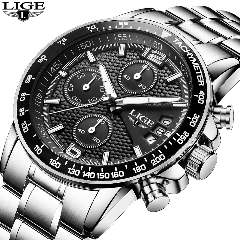 LIGE Luxury Brand Watches Men Six Pin Full Stainless Steel Military Sport Quartz Watch Man Fashion Casual Business Wristwatches