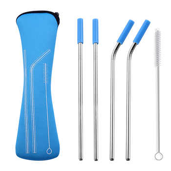 Stainless Steel Straw Set Reusable Silicone Tips Cover 6*215mm Straight Bent Drinking Straws Travel Storage Zipper Bag - DISCOUNT ITEM  0% OFF All Category