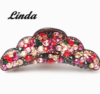 Best Quality French Acetate Austrian Rhinestone Hair Claw Clip For Women Leaves Crown Shape Hair Crab