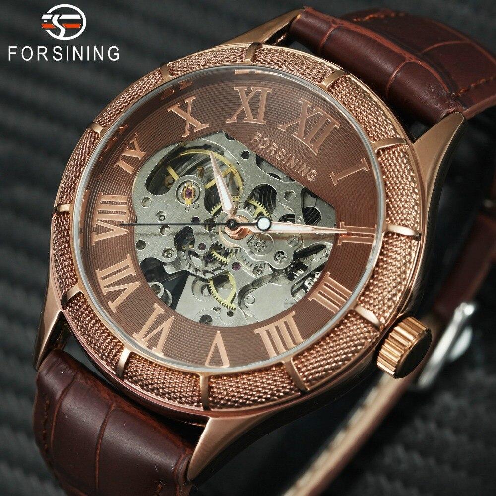 2018 Vintage Neue Männer Automatische Mechanische Handgelenk Uhren Leucht Hände Skeleton Römischen Ziffern Über Größe Zifferblatt Relogio masculino