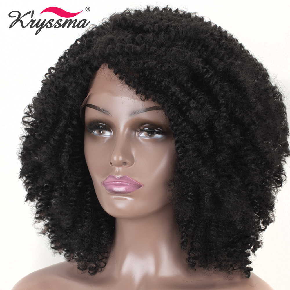 1B Color Synthetic Lace Front Wig Short Kinky Curly Wigs for Women Black L Part