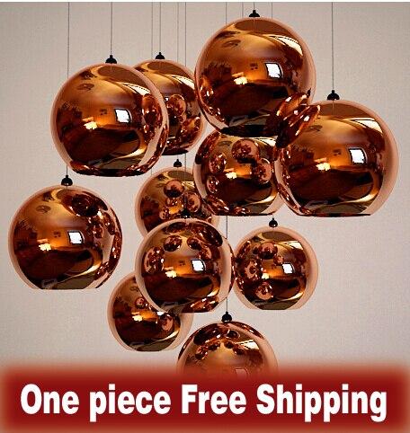 Home pendant light Modern Simple led light fixture Restaurant led Round Ball Glass Pendant lampshades Copper / Gold / Silver