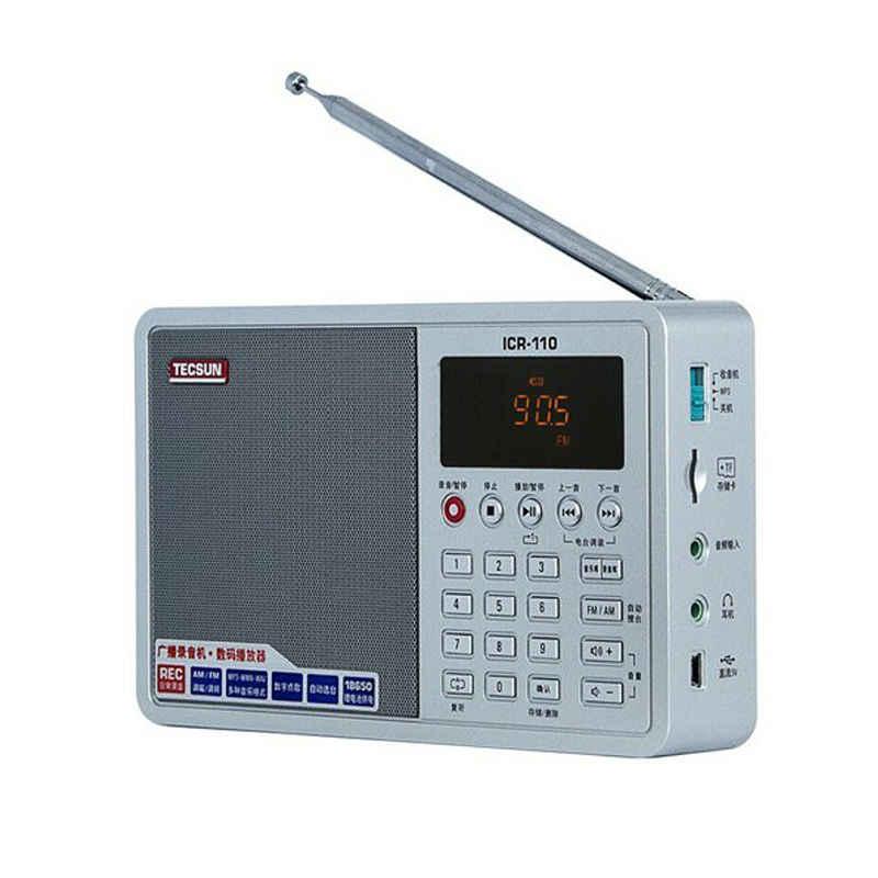 TECSUN ICR-110 FM/Am ラジオ TF カード MP3 プレーヤーレコーダーラジオ FM: 64-108 MHz/AM: 520-1710 khz FM/AM インターネットポータブルラジオ