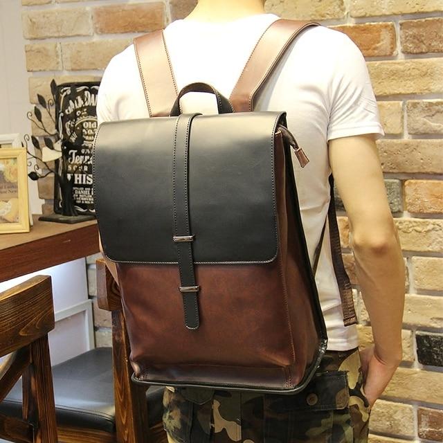 Neue männer crazy horse pu-leder rucksack hohe qualität männer reisetaschen adrette  männer schultaschen casual e3ed883254