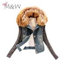 4XL 5XL Plus SizeThick Winter Women Fashion Denim Jacket Movable Furs Collar Wool Coat Bomber Jacket Jean Women Basic Coats