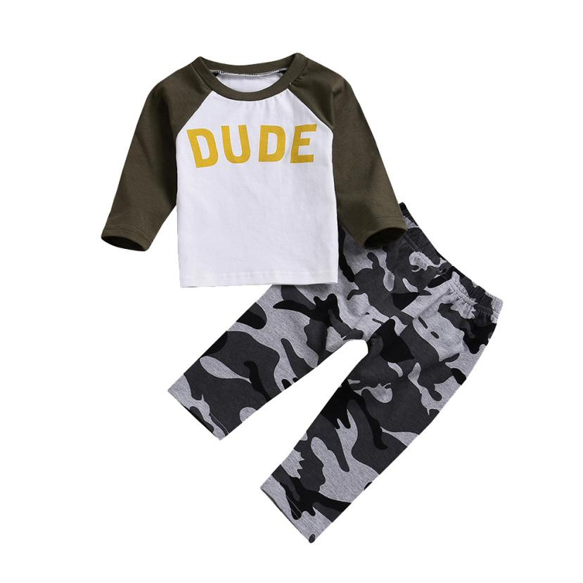 BMF TELOTUNY Children's Sets Toddler Baby Boys Long Sleeve Letter Print Tops+ Camouflage Pants Outfits Set Au7