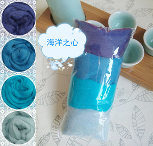 COLOR Azul 4 colores/Combo lana Merino fibra Roving para aguja fieltrar hilado a mano DIY muñeca divertida costura