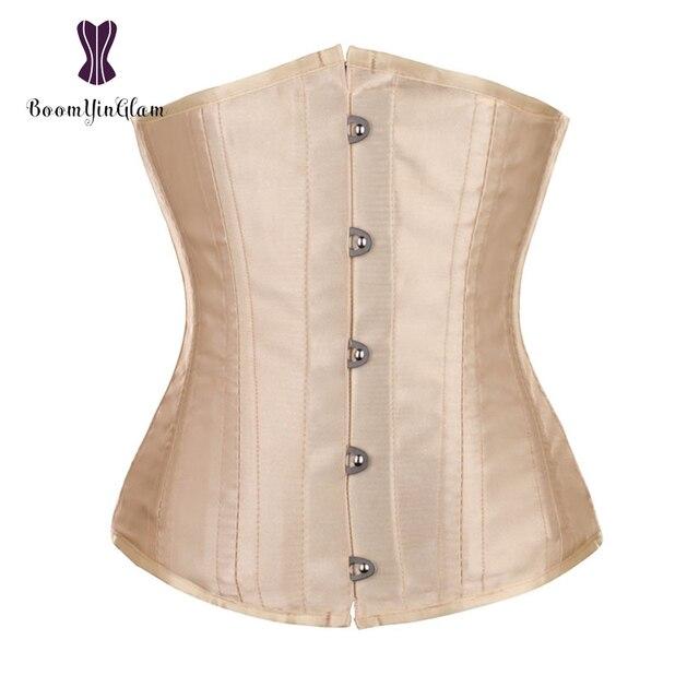 e93ececf0 2003 Free shipping metal clips spiral steel boned 24 hourglass waist trainer  satin waist cincher underbust corset size xxs-l