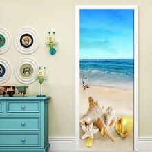 Home Decor 3D Door Sticker Beach Conch Sea View Wallpaper Living Room Bedroom Kitchen Waterproof Vinyl Door Mural Door Stickers