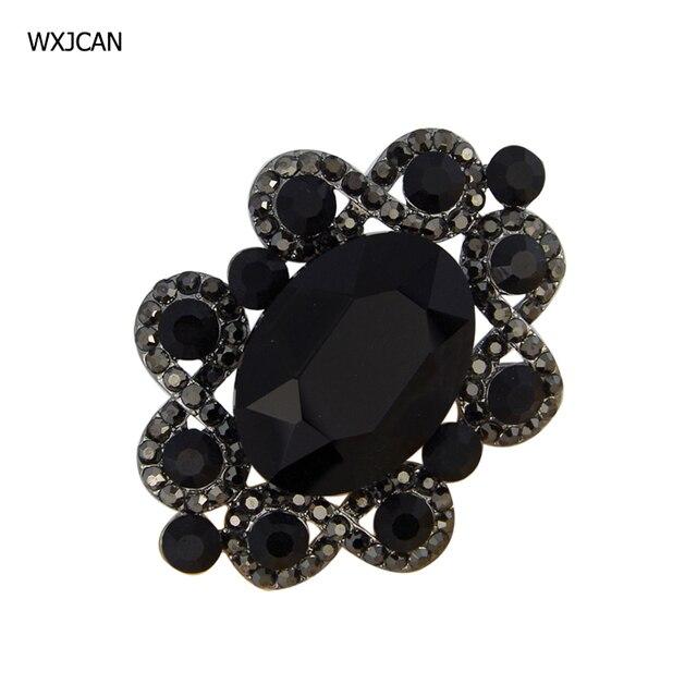 3835bb331ad WXJCAN luxury big black rhinestone brooch pins Novelty vintage brooches  women men costume jewelry badges 55mm*40mm B5637