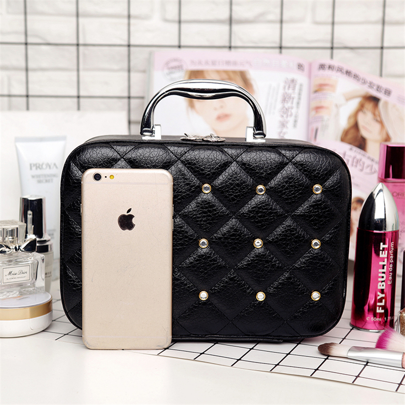 Fashion Diamonds Make Up Bagse Large Capacity Cosmetic Cas Famous Brand Leather Make Up Box Portable Travel Makeup Organizer Bag in Cosmetic Bags Cases from Luggage Bags