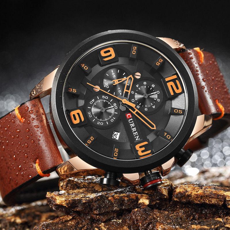 CURREN Quartz Chronograph Sport Men's Watch Luxury Brand Leather Band 1