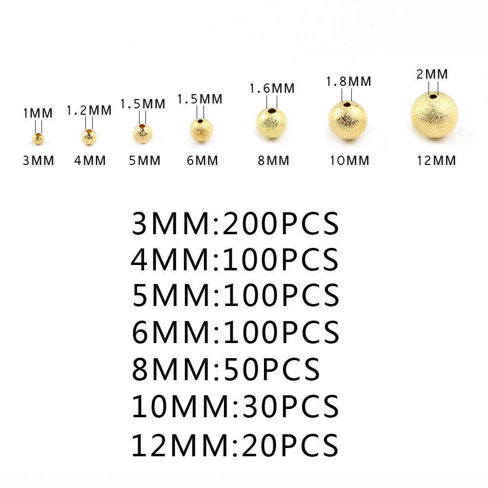 """JHNBY цвета: золотистый, серебристый матовый металл бусины 3/4/6/8/10 мм 200 шт Круглые Медь Spacer Бусины для изготовления ювелирных изделий шнур кожаный """"сделай сам"""""""