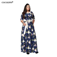 5XL 6XL Sexy Maxi Dress big size 2017 Women Autumn Winter plus size Party Dress Vintage loose Floral Printing Boho Long Dresses