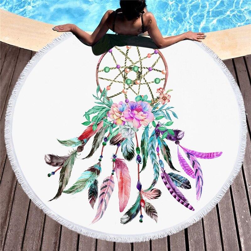 Serviette de plage ronde coton pour adultes mandala dream catcher serviette plage grand yoga mat tassel couvertures décoration murale