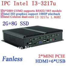 2G RAM 8G SSD INtel i3 Fanless industrial computers Gigabit Ethernet 6*USB 6*COM WIN7 WIN8 LINUX NAS free drive 7 24 hours
